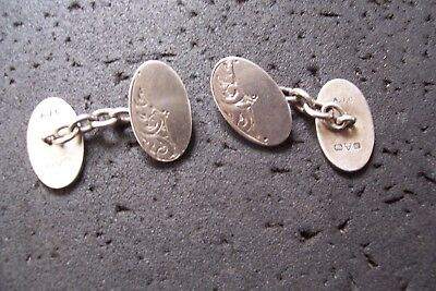 VINTAGE SILVER HALLMARKED CUFF LINKS by ALFRED JAMES CHESHIRE. CHESTER 1913.925