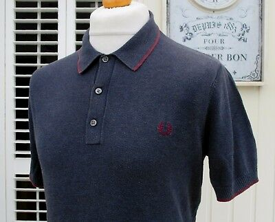 Fred Perry Navy Marl Knitted Slim Fit Polo - L/XL - Mod Ska Scooter Casuals
