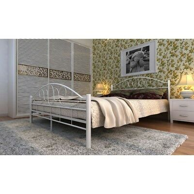 Super King Size French Style Bed Frame White Metal Bedstead Shabby Chic Bedroom