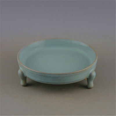China old antique SONG RU kiln sky blue cyan glaze three foot Brush Washers