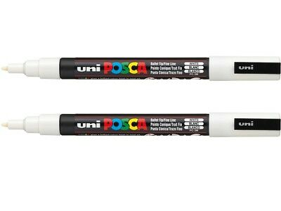 2 x WHITE UNI Posca Paint Pens PC3M Fine Bullet tip 0.9mm -1.3mm PC3MWH