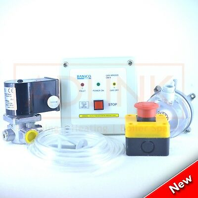 "Commercial Kitchen Gas Interlock Kit 1 1/2""  Gas Solenoid Valve & 42Mm Adaptors"