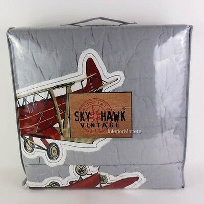 Sky Hawk Vintage airplanes FULL QUEEN QUILT SET appliqued GRAY RED BLUE boy