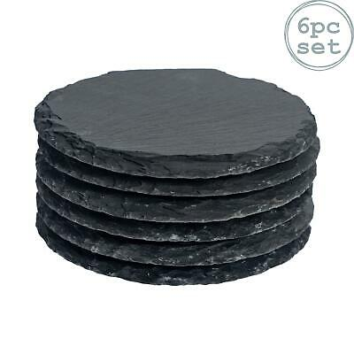 Round Shape Natural Grey Slate Drinks Cups Coasters - Set of 6