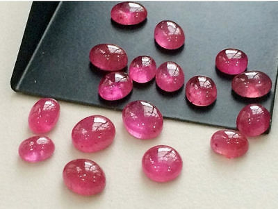 8 Pcs Oval Loose Ruby Glass Filled Cabochons, Plain Ruby, Flat Back Caoachons