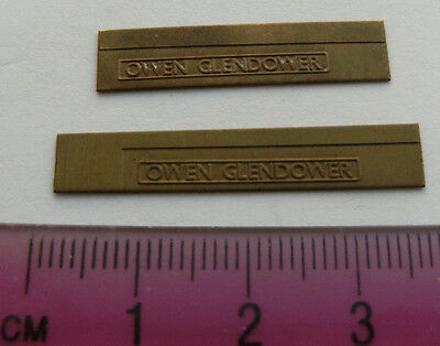 Model Railway Brass Nameplate Owen Glendower (Pair)