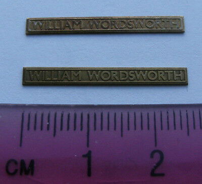 Model Railway Brass Nameplate William Wordsworth (Pair)