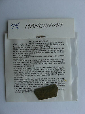 Truline Models 7mm O Gauge Model Railway Brass Nameplate The Mancunian