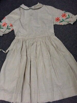 Vintage Girls Childs Dress Brown Gingham Embroidered Flowers Buttons