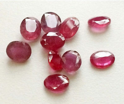 5 Pcs Ruby Glass Filled Cabochons, Oval Faceted Ruby Gems, Loose Ruby Cabochons