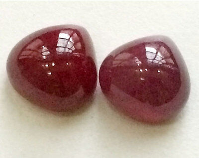 2 Pcs Ruby Glass Filled Cabochons, Heart Plain Ruby Bead, Loose Ruby Cabochons