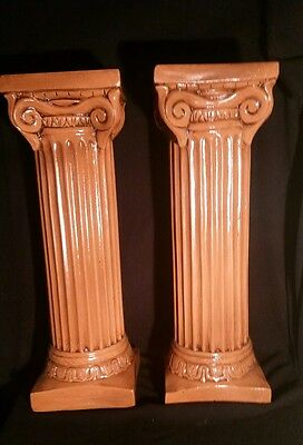 "PAIR ANTIQUE IONIC 28.5"" Painted Plaster Columns Matching Pair"