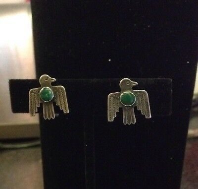 OLD Pawn Vintage Navajo Screw Back FRED HARVEY Thunderbird Sterling Earrings