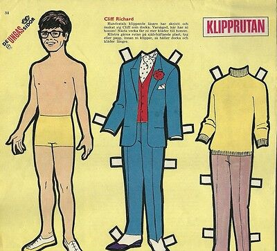 Cliff Richard Pop Rock Music Vintage Swedish Paper Doll & Clothes