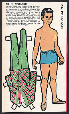 Cliff Richard Rare Vintage 1960s Pop Music TV Star Paper Doll