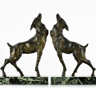Rare 1920s French ART DECO CHIMERA SCULPTURE Bookends, Deer With Wolf Head