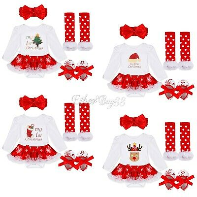 My 1st Christmas Infant Baby Girl Santa Romper Headband Tutu Dress Outfit Set