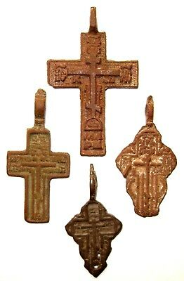 Ancient lot of 4 bronze Believer crosses Middle Ages. #084