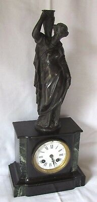 Very Nice French Bell Striking Mantle Clock With Classic Figure On Top