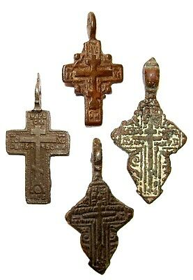 Ancient lot of 4 bronze Believer crosses Middle Ages. #085
