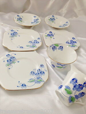 ♡ 1935 Art Deco Violets 4212 7 Pcs Colclough Side Plates Saucers Jug Sugar Bowl
