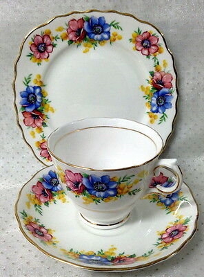 Colclough Trio Cup Saucer Plate Blue & Pink Flowers & Mimosa Wattle Gold Trim