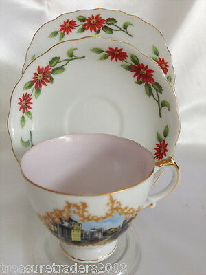 ♡ Trio Brisbane City Hall / Queen Street Poinsettia Teacup Saucer Plate