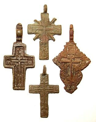 Ancient lot of 4 bronze Believer crosses Middle Ages. #087