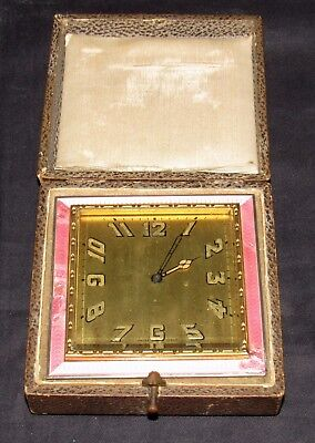 Delightful Swiss Art Deco Strut Clock With Pink Enamel. Early Travel Clock