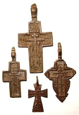 Ancient lot of 4 bronze Believer crosses Middle Ages. #088