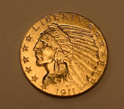 ( 1 ) 1911 $5 Indian Head Gold Coin - Lot# G-12