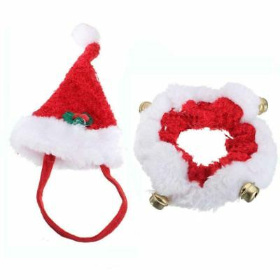 Novelty Christmas Pet Fancy Dress Santa Hat Collar Necktie Small Cat Dog Costume