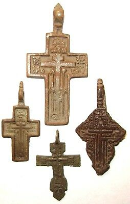 Ancient lot of 4 bronze Believer crosses Middle Ages. #090