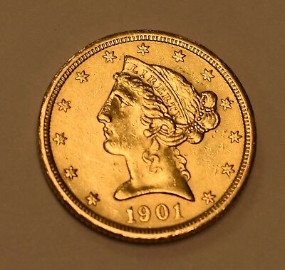 ( 1 ) 1901-S  $5 Liberty Head Gold Coin - Lot# G-79