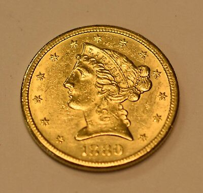 ( 1 ) 1880-S  $5 Liberty Head Gold Coin - Lot# G-37