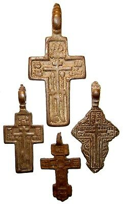 Ancient lot of 4 bronze Believer crosses Middle Ages. #091