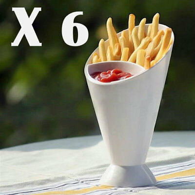 6 X Dipper Cone Fries Dip Fry Sauce Snack Holder Food Party Bowl Serving Stand