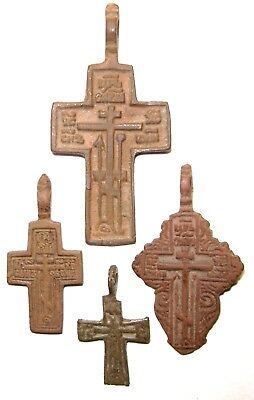Ancient lot of 4 bronze Believer crosses Middle Ages. #092