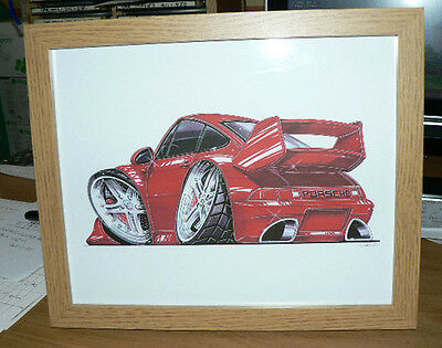 39.  Porsche RS Red  Framed Print  Caricature Present Gift