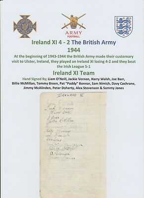 Ireland V British Army 1944 Very Rare Original Hand Signed Page 27 X Signatures
