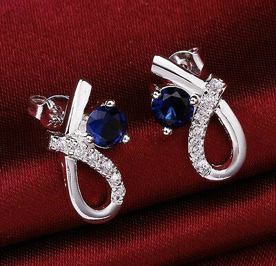 925 Solid Sterling Silver Blue Sapphire Stud Earrings