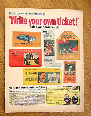 1966 Pepsi Cola Ad New Sweepstakes Write Your Own Ticket! 1966 Cadillac