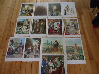 "13 Vintage Religious Lithographs Providence Lithograph Co Lot Posters 17"" X 12"""