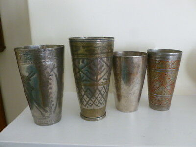 Four vintage Islamic India Indian engraved steel lassi cups, large, early 20th c