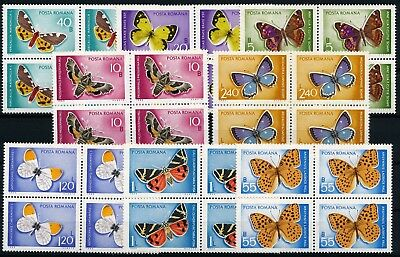 [H3410] Romania 1969 : Butterflies - 4x Good Set Very Fine MNH Stamps in Blocks