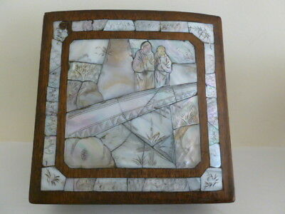 Antique China Chinese box, mother of pearl and rosewood
