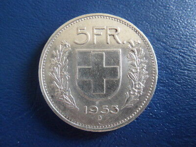 1953 Swiss Silver 5 Franc Coin-VG Condition-#17-370