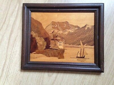 Vintage Marquetry Wood Inlay Framed Picture Sail Boat Scene Artwork