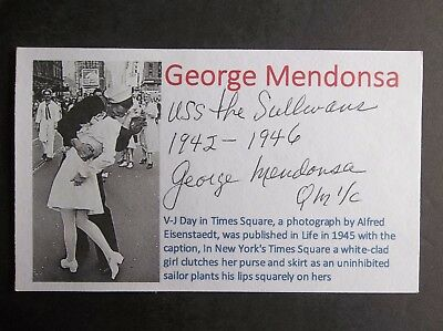 """The Kissing Sailor"" George Mendonsa WWII  Autographed 3x5 Index Card"