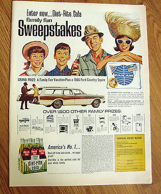 1966 Diet-Rite Cola Sweepstakes Ad  1966 Ford Country Squire
